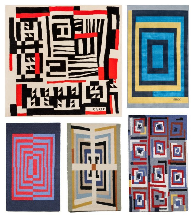 Rugs based on the Gee's Bend quilts.