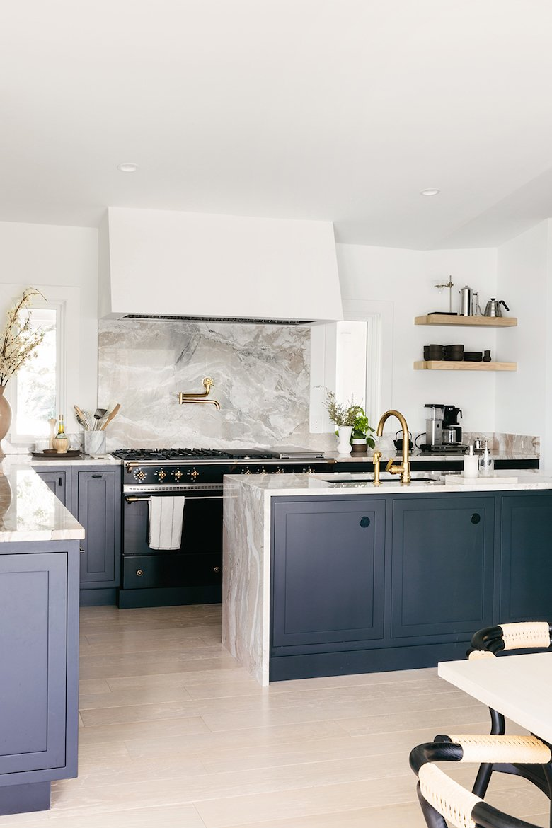 Anna Bond kitchen (Rifle paper ceo) with natural stone slab accents