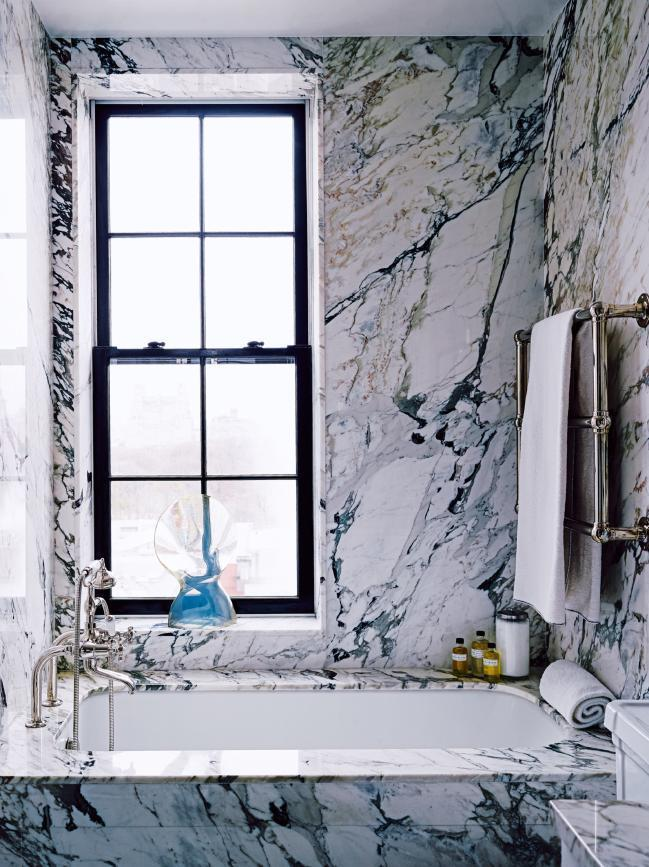 Marble bathroom by Ellen Hanson in her New York City Home