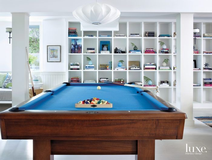Game room in basement in Montauk NY designed by Lynn Byrne of Decor Arts Now
