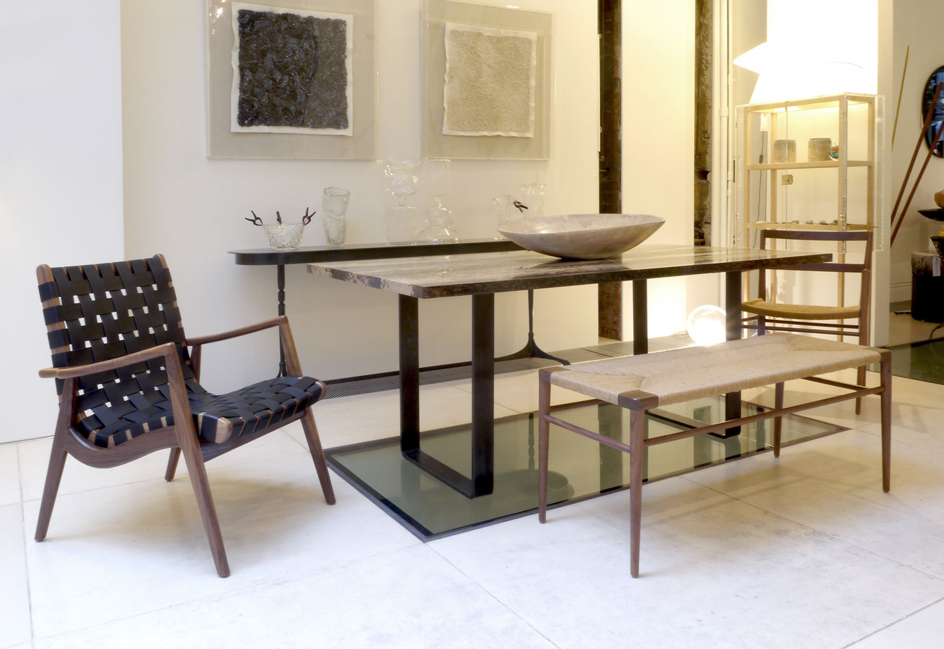 Woven Leather Lounge Chair, Woven Rush Bench and our Rush Dining Chair in the background