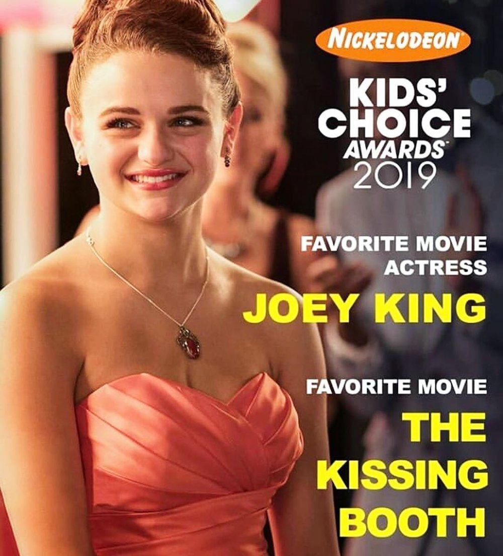 Hey y'all!!! Soooo excited about this. @nickelodeon announced the #kca nominations for 2019!!! And guess what??? @thekissingboothnetflix is nominated for 'Favorite Movie' and @joeyking is nominated for 'Favorite Movie Actress' Get to voting A TON!!!!!  http://www.kca2019.com/