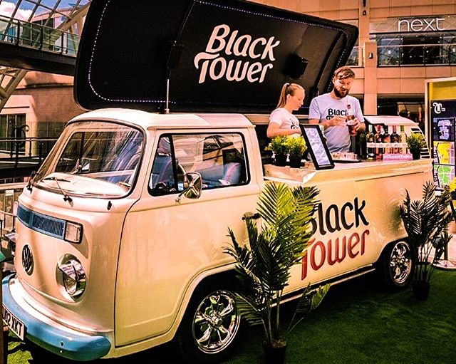 We will often collaborate with great brands.....and we have lots of exciting new #activations planned for the summer.. keep an eye out for them. This is one of our bars sporting @blacktowerwine livery for an awesome event 🥂