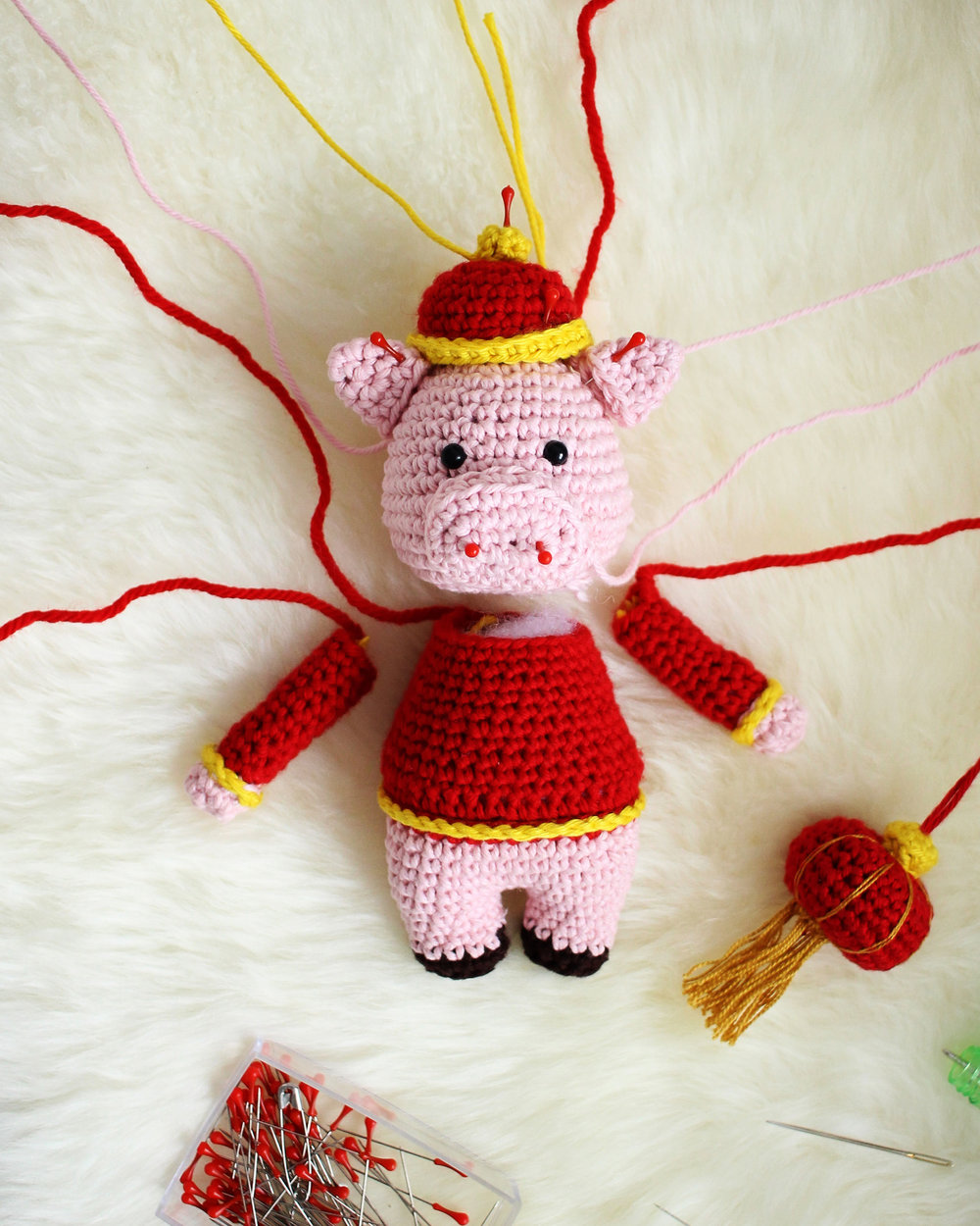Chinese New Year Pig Crochet Assembly