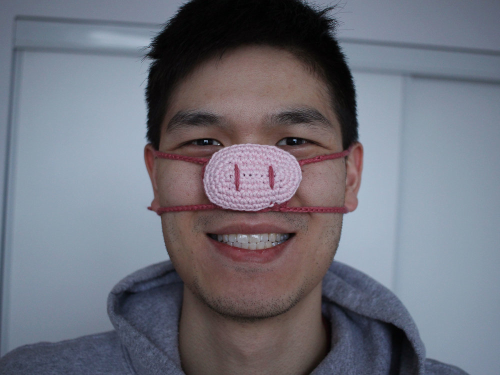 Pig Nose Cozy Finished Crochet Pattern