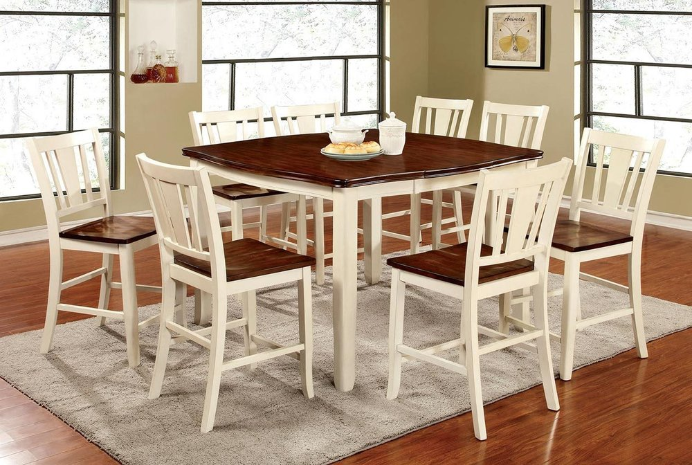 9 Pcs Cherryvintage White Counter Height Dining Table Set Usa Lux