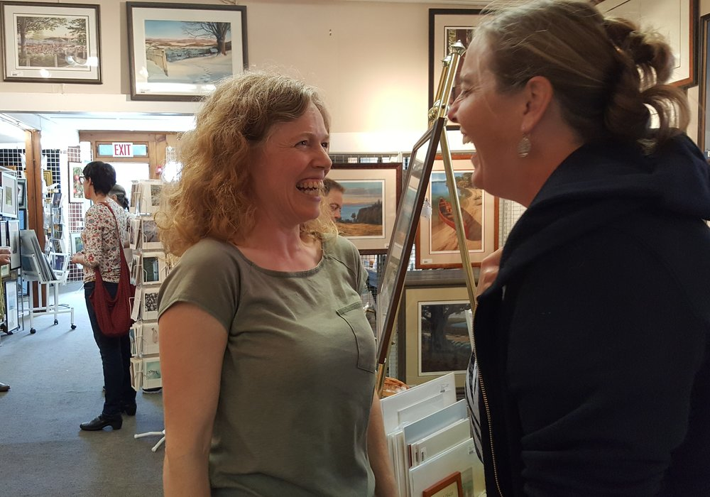 Corina Willette (left) at the Art Place. Photo by Barbara Wilson