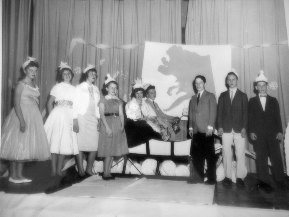 Winter carnivals and school dances are often part of wintertime events. This old photo of the crowning of Jack Frost and Miss Snowflake at the winter carnival dance, Bristol Community Center, Bristol. (Photo courtesy Tapply Thompson Community Center)