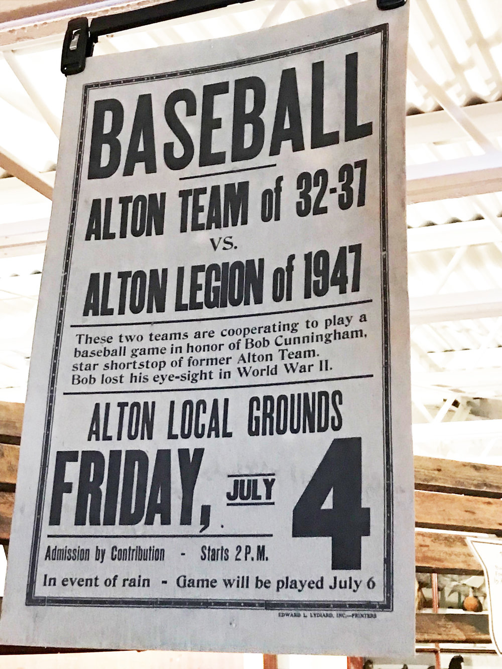 - Town baseball teams were once popular entertainment in small towns, as attested to by this old sign.