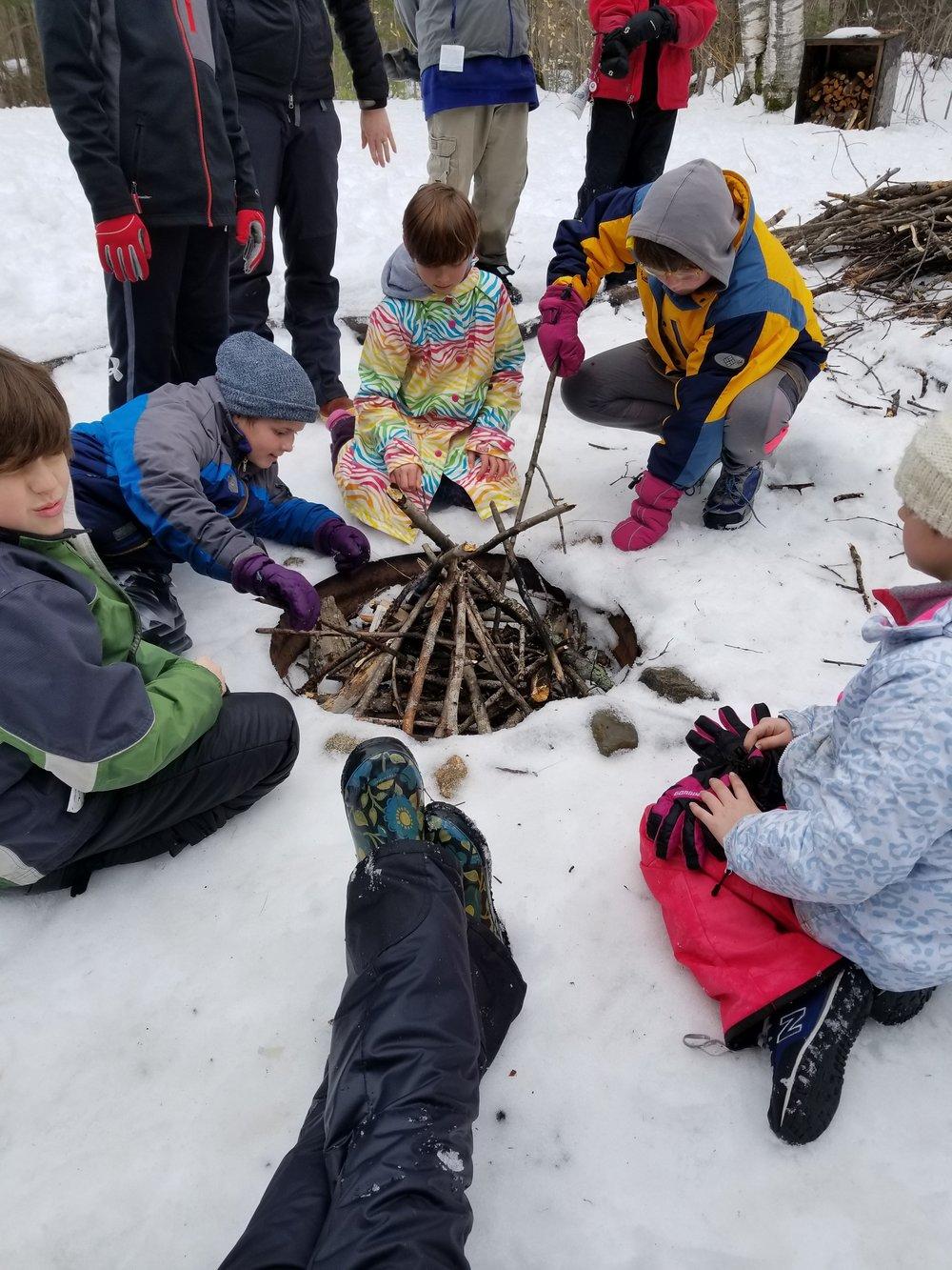 Kids enjoying Tin Mountain's winter camp