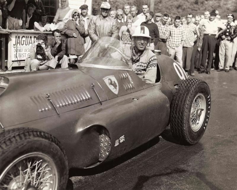 Legendary automotive icon, Carroll Shelby, nudges up to the starting line of the 1956 Climb to the Clouds in his Ferrari 375 GP. Shelby went on to conquer the historic Auto Road that year, with a record-setting time of 10 minutes 21.8 seconds. (Courtesy photo)