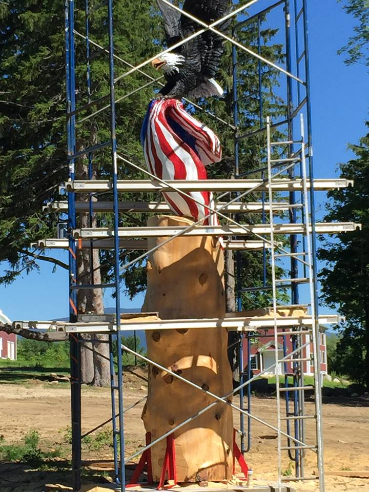 The next phase to commence in August will be the sculpting of a bear beneath the eagle at the Isaac Adams Homestead in Sandwich. (Carver Alex photo)
