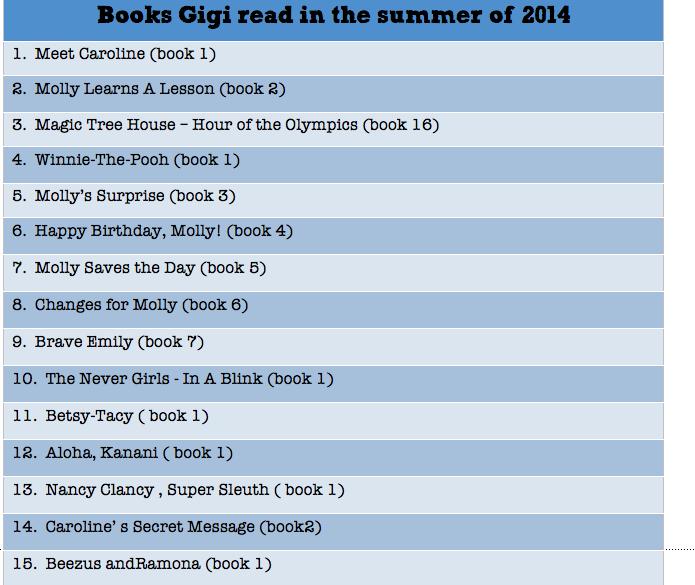 Gigi's summer reading challenge