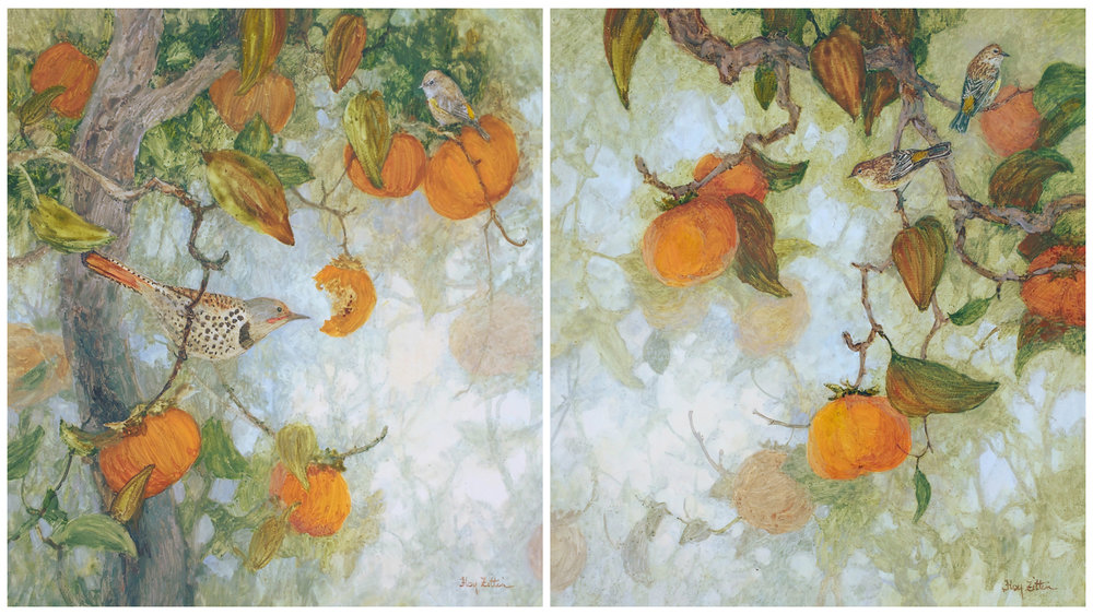 "Yellow-rumped Warblers, Flicker and Persimmons diptych each 16"" x 16"" watermedia on wood panel"