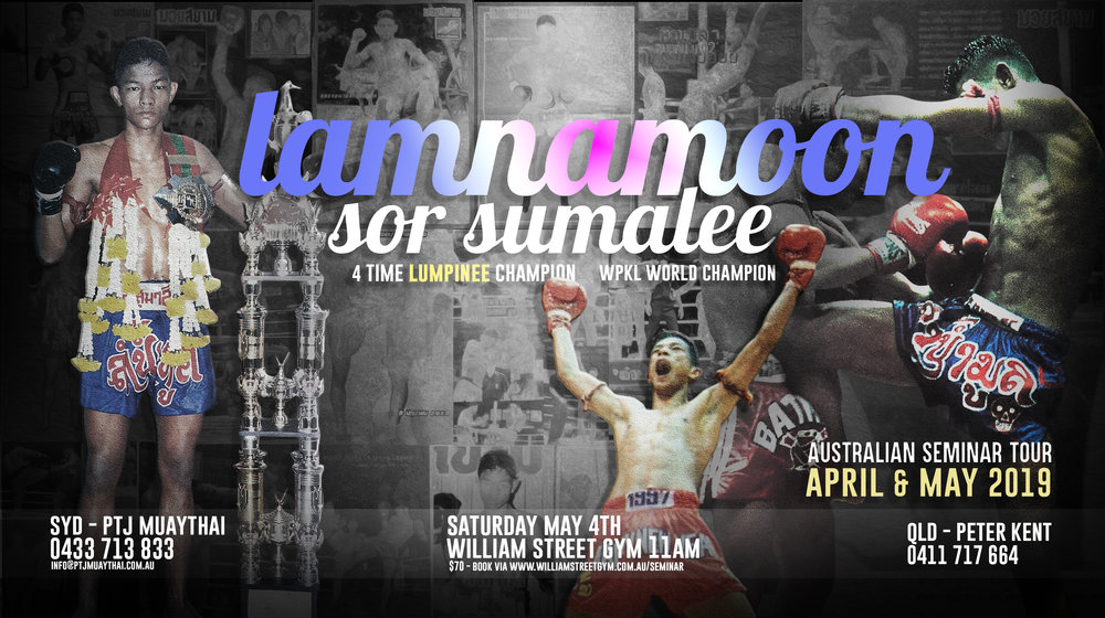 """2-Hour Seminar (Plus Question Time and Photo Opportunity) with legendary golden era Muaythai Champion, Lamnammoon Sor Sumalee. A multiple-time Lumpinee and World Champion and now the owner and head trainer of Lamnammoon Muaythai.  Australian and Rebellion Muaythai fans will also know him as the Thai trainer of Kurtis Staiti and the late Jordan Coe.    """"After finishing his fight career Lamnammoon began teaching first working at Sor Sumalee then moving onto schools in Macua, Australia, and at Evolve Mixed Martial Arts in Singapore where he trained Raphael Dos Anjos and Zorobel Moiera.    After several years in Singapore, Lamnammoon decided to return to his roots in the heartland of Muay Thai in northeast Thailand. In developing his fight team he brought one of his original foreign students from Sor Sumalee gym, Sean Kearney. He was able to get the Canadian fighter rankings at both Omnoi and Lumpinees stadiums as well as other wins around Asia.    Although Lamnammoon was known for his walk forward, clinch and knee style he enjoys teaching all styles of fighting preferring to adapt to his students' body types and temperaments.    He is know honing the skill and crafts of several raising young fighters and is ushering them into the Bangkok stadium fight circuit including Bantong, Robert, Petch, Petnammoon, and Kaoponglek along with other foreign fighters. """""""