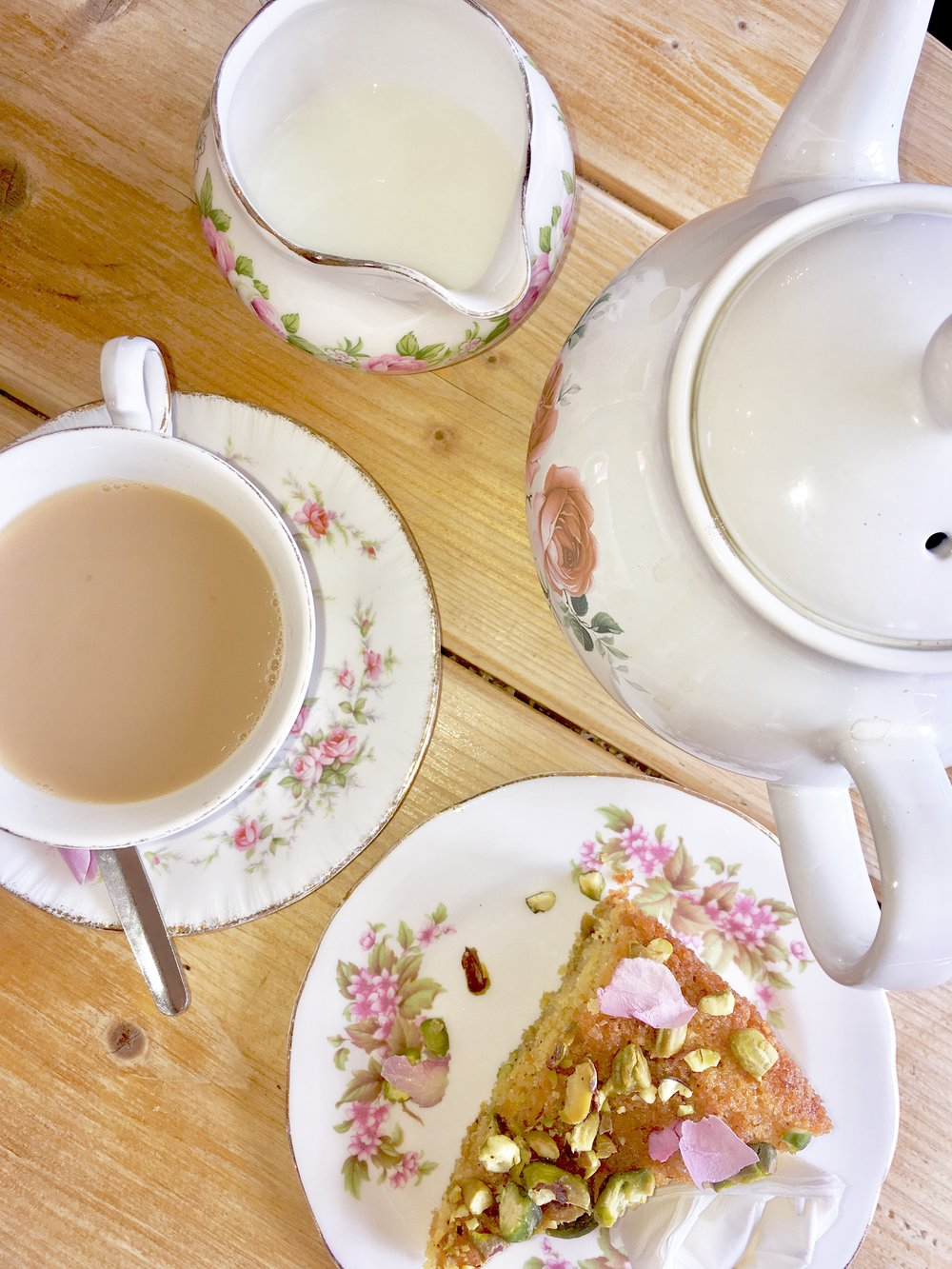 Tea with Rose & Cardamon Cake