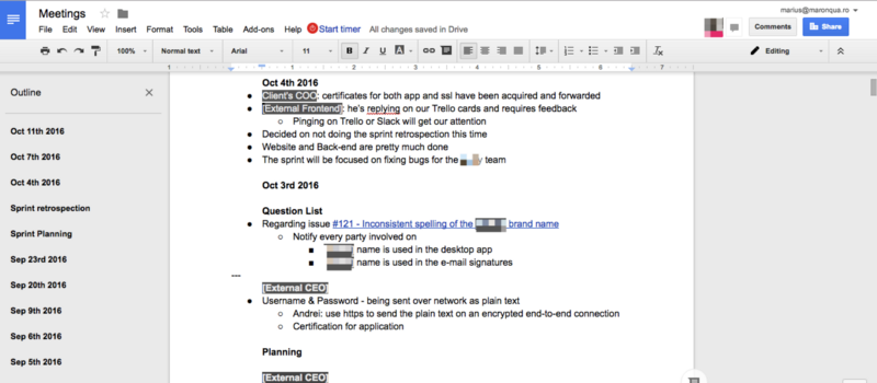 Example of a long summary inside a Google Document.