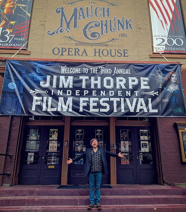 """Finally made it to @jimthorpeindiefilmfestival with @allaroundartsy to represent our film 'Period."""" Planning to share the score soon so stay tuned! 🎶🎞️ #jimthorpeindiefilmfest #filmmaking #composer #sounddesigner  #filmfestival #filmmaker #scifi"""