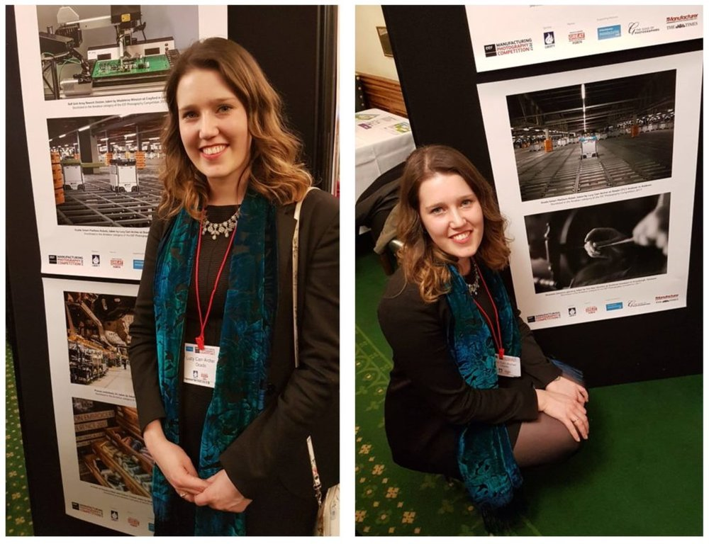 Lucy next to her shortlisted entries at the EEF Celebration Event held at the Houses of Parliament