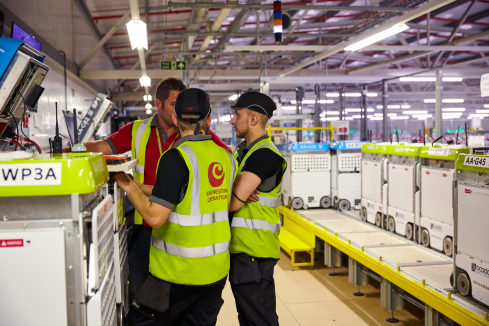 The Engineering Operations team testing our new robots in our highly automated warehouses
