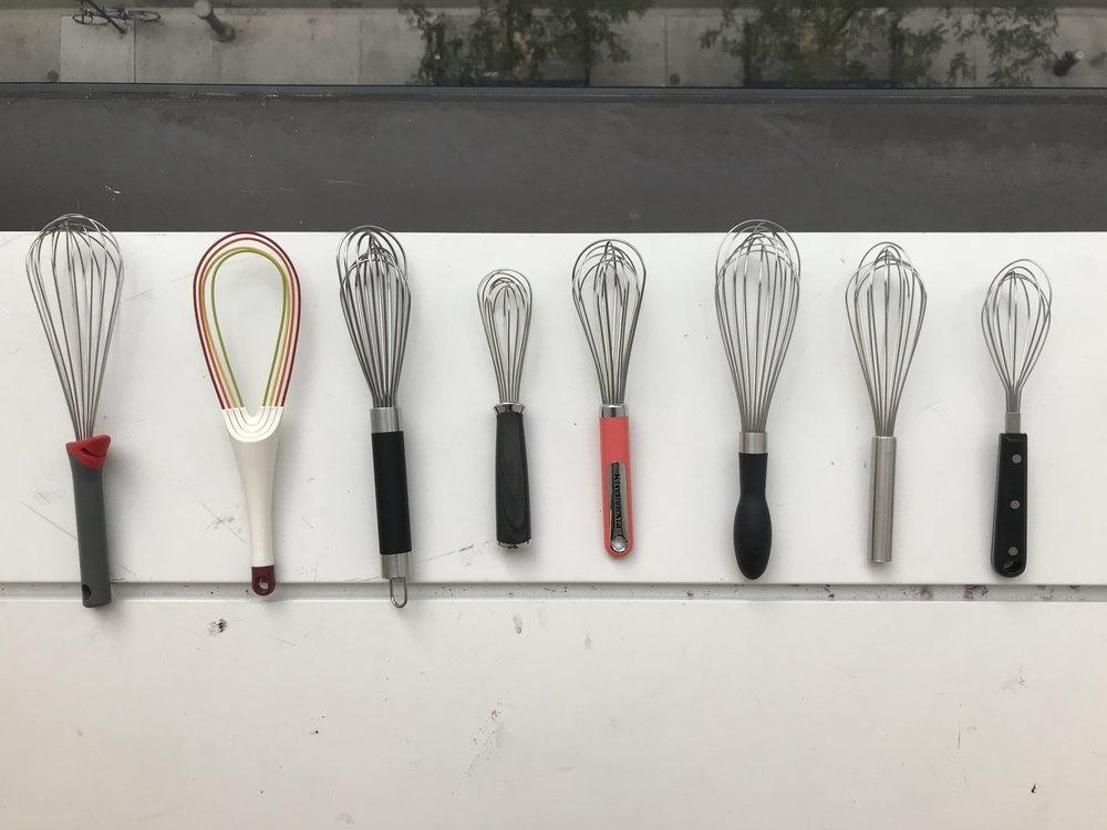 The eight whisks we analyzed and compared.