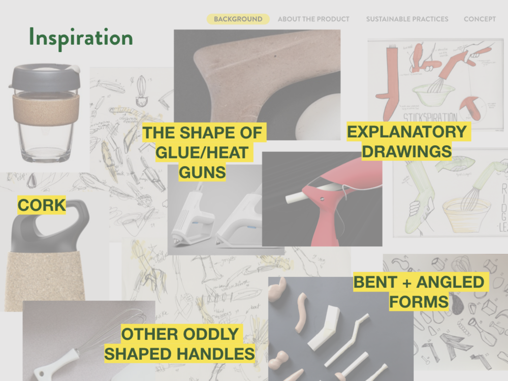 Bent and angled forms were one of the things highlighted in our inspiration board. We noticed that it was a recurring motif in our earlier thumbnail ideation sketches.