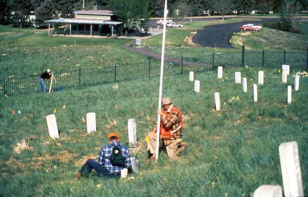 Surveying the Last Stand Hill dig site 1984