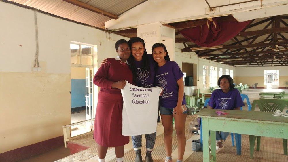 Malindi, center, with Creative Associate (and sister!) Kaisha Ayienga, right, and Diva Day Ambassador, Mercy, left.