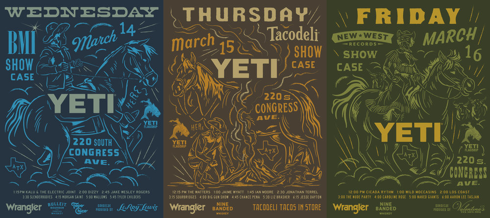YETI SXSW Showcase Poster Set