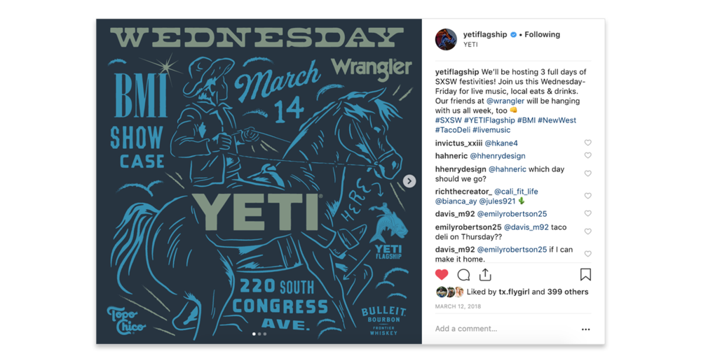 YETI SXSW Showcase Instagram