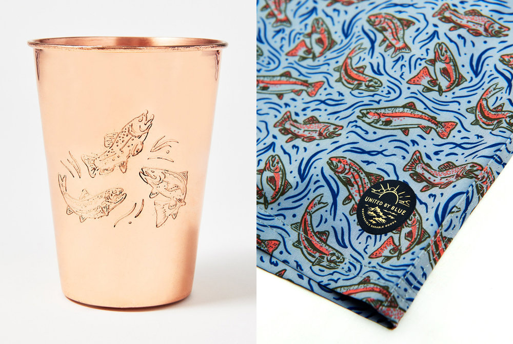 United By Blue Upstream Copper Mug and Boardshorts