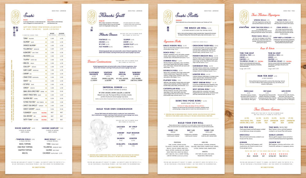 A few pages of the Sushi Thai Restaurant Menu in Georgia