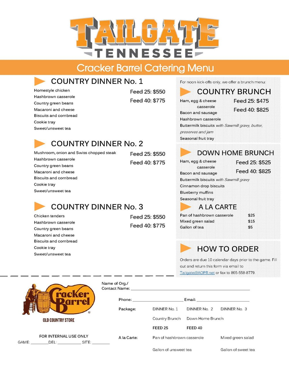 Cracker Barrel 2018 Catering Menu