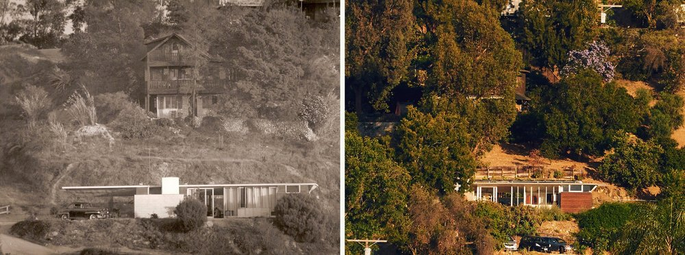 Jules Salkin Residence - Left, the home photographed by Howard Maxwell, the father of Melinda Maxwell-Smith, who grew up there. Right, the home today.