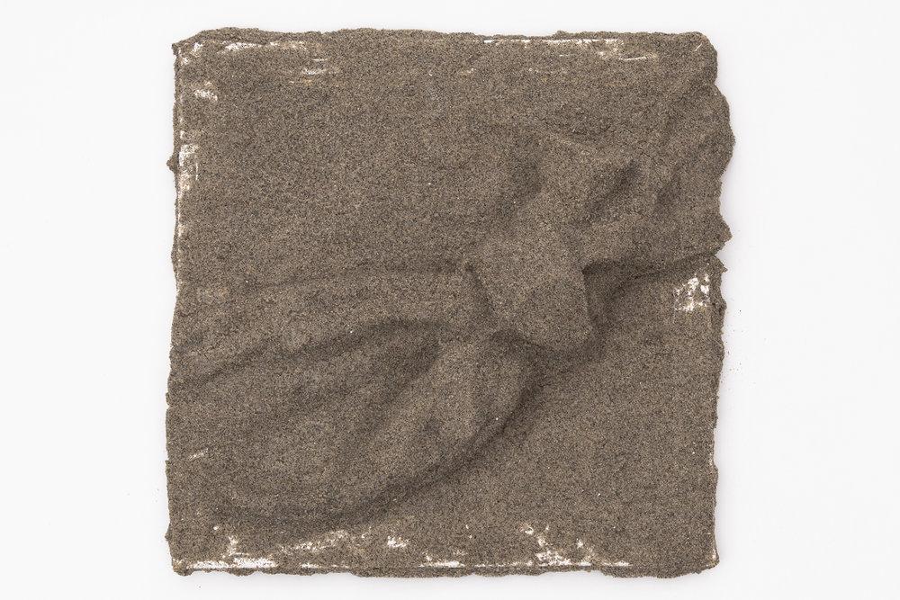 "10"" x 10"" x 3""  Sand, glue on canvas"