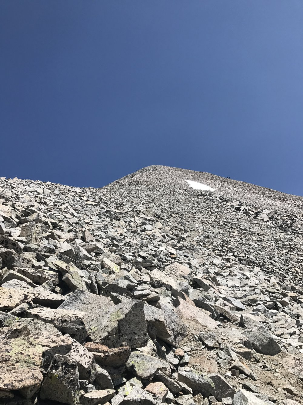 The final push to the summit on Antero. If you look to the right, you'll see two small figures toward the top. These are hikers who found the properly marked cairn trail and took the switchback route. We, of course, made a direct assault.