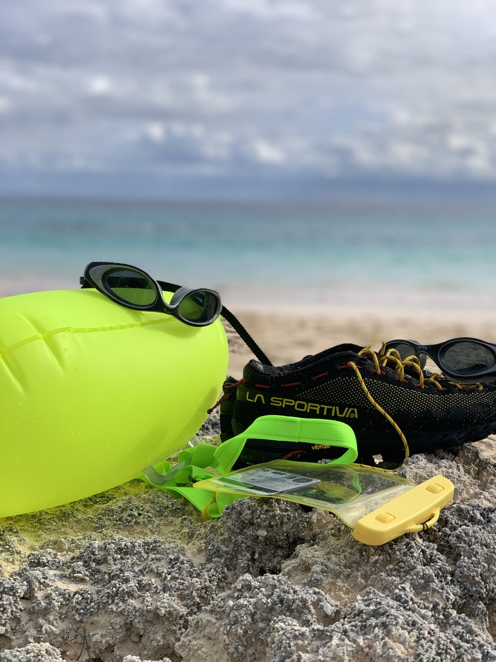 My swim buoy, goggles, and canyoneering shoes.
