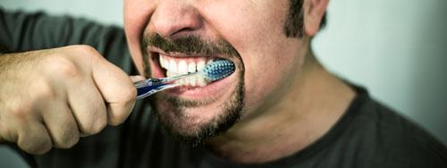 Brushing teeth too hard