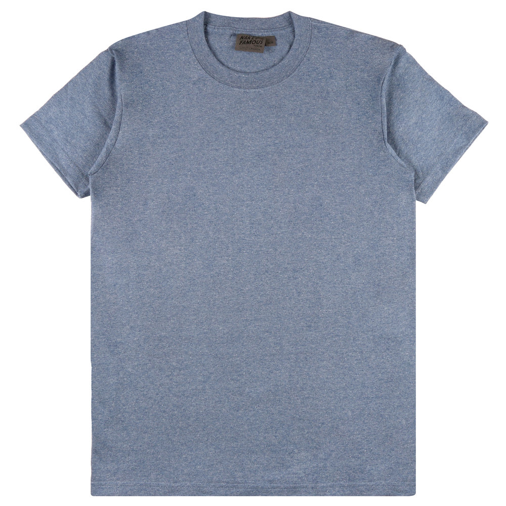 HEATHER BLUE RINGSPUN COTTON - Circular T-Shirt