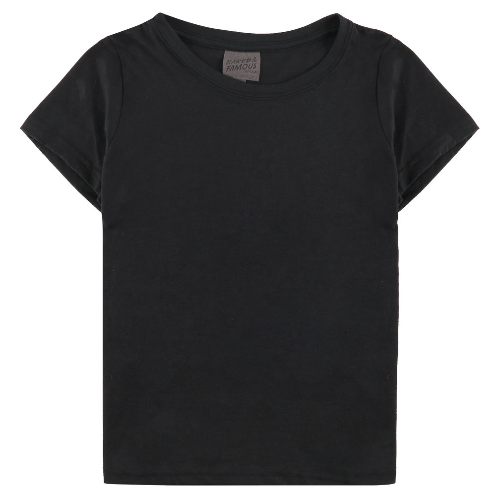 BLACK RINGSPUN COTTON - Circular T-Shirt