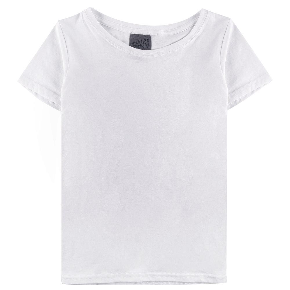 WHITE RINGSPUN COTTON - Circular T-Shirt