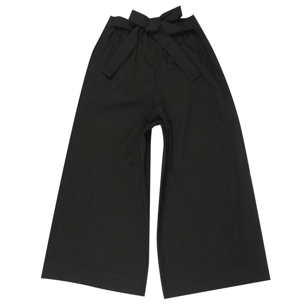 BLACK RINSED OXFORD - Wide Pants