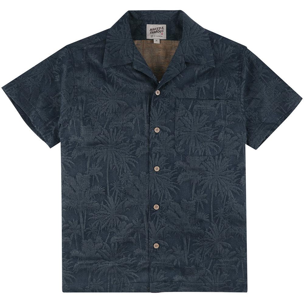 DOUBLE JACQUARD TROPICAL - BLUE - Aloha Shirt