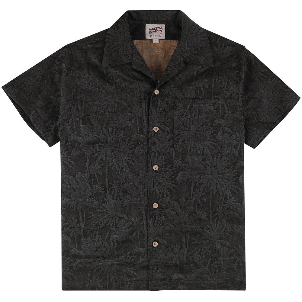 DOUBLE JACQUARD TROPICAL - BLACK - Aloha Shirt