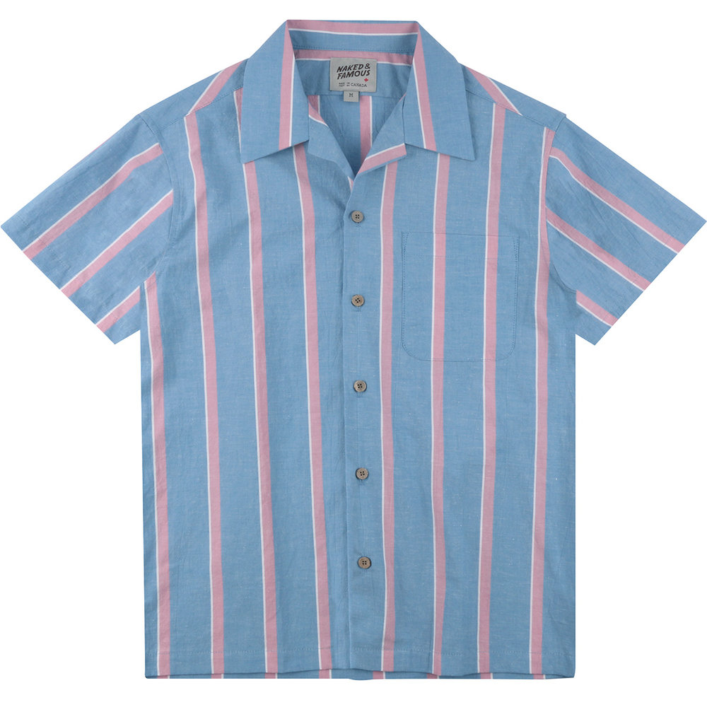CHAMBRAY SLUB STRIPE - SKY BLUE - Aloha Shirt