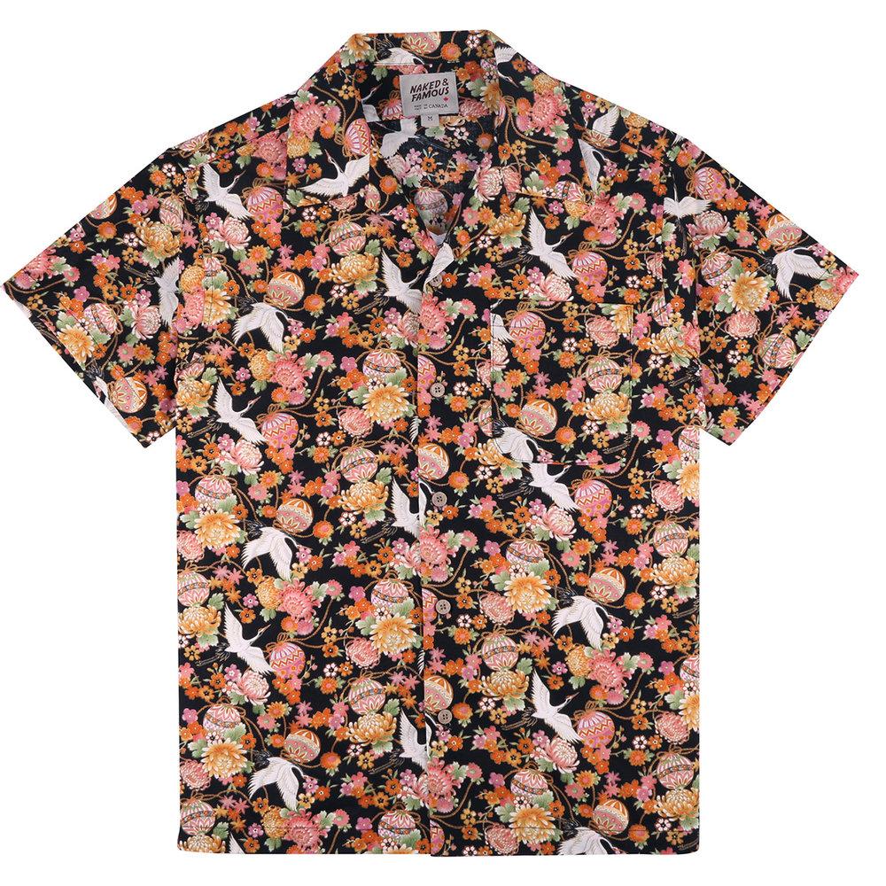 JAPAN TSURU FESTIVAL - BLACK - Aloha Shirt