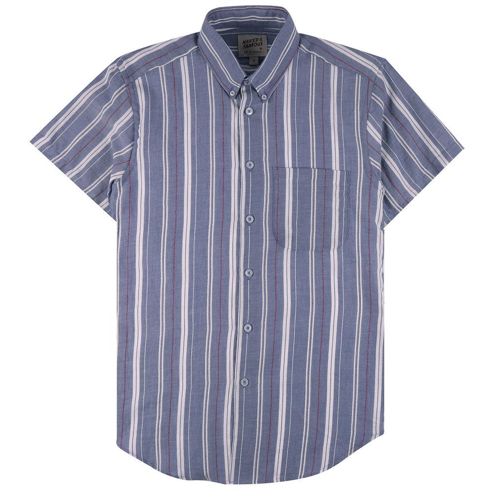 BOUCLÉ STRIPE - BLUE - Short Sleeve Easy Shirt