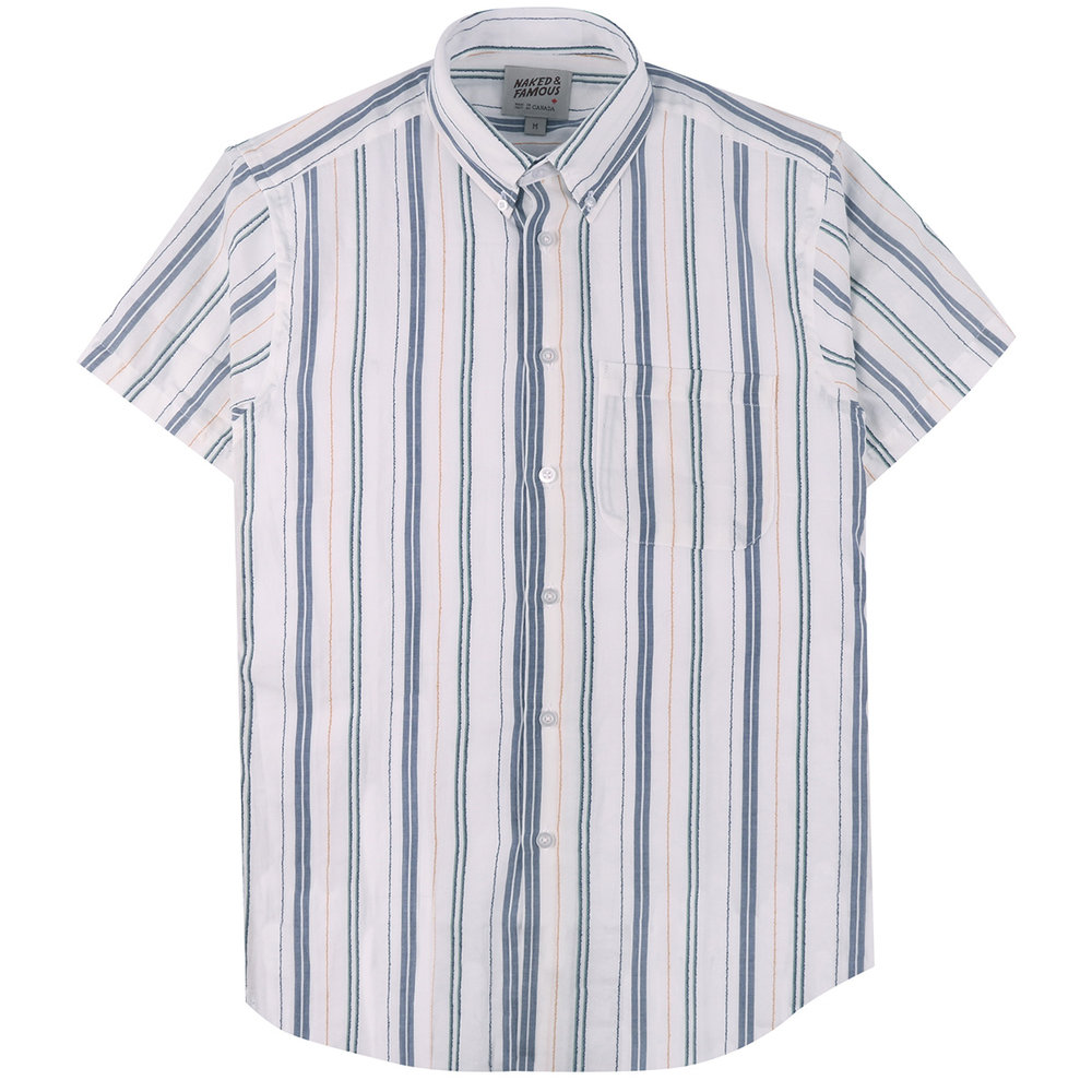 BOUCLÉ STRIPE - WHITE - Short Sleeve Easy Shirt