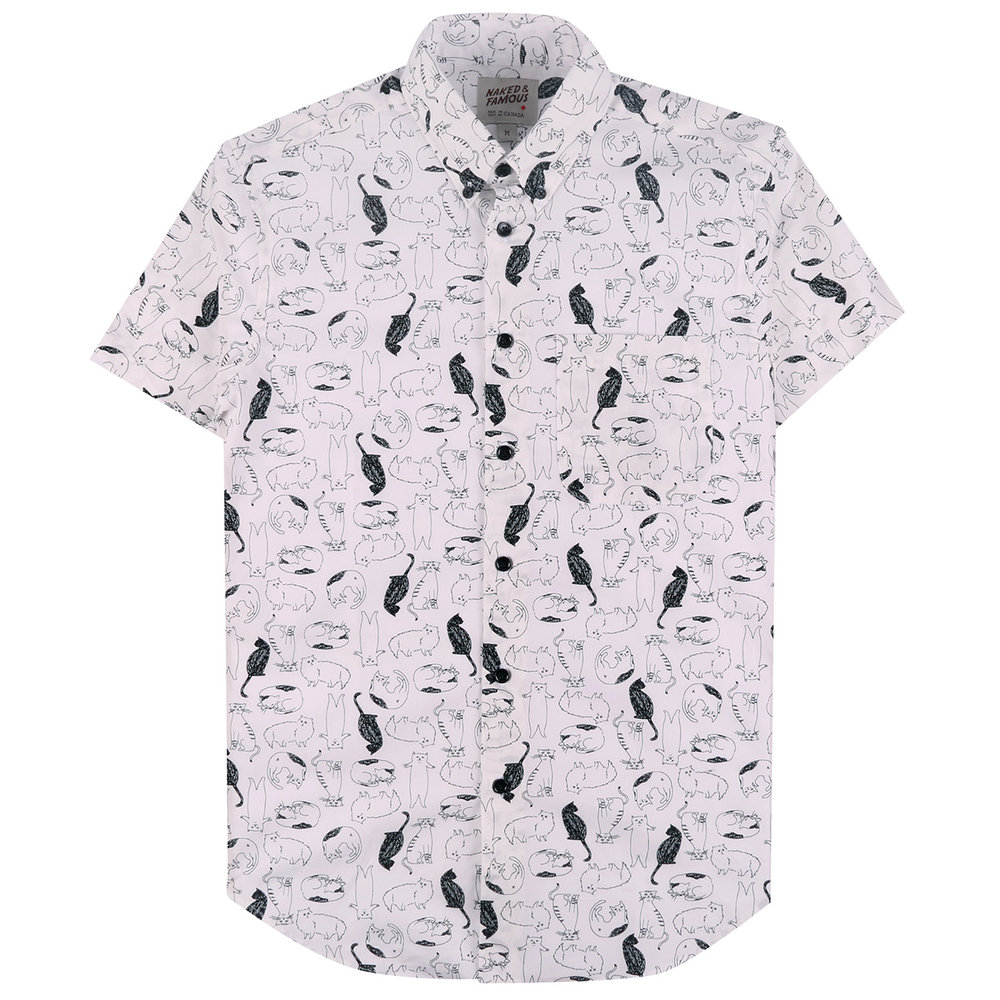 CATS SKETCHES - WHITE - Short Sleeve Easy Shirt