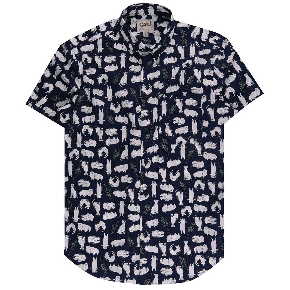 CATS SKETCHES - NAVY - Short Sleeve Easy Shirt
